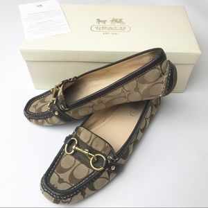 Coach | Signature Brown Gold Scarlet Loafers & Box